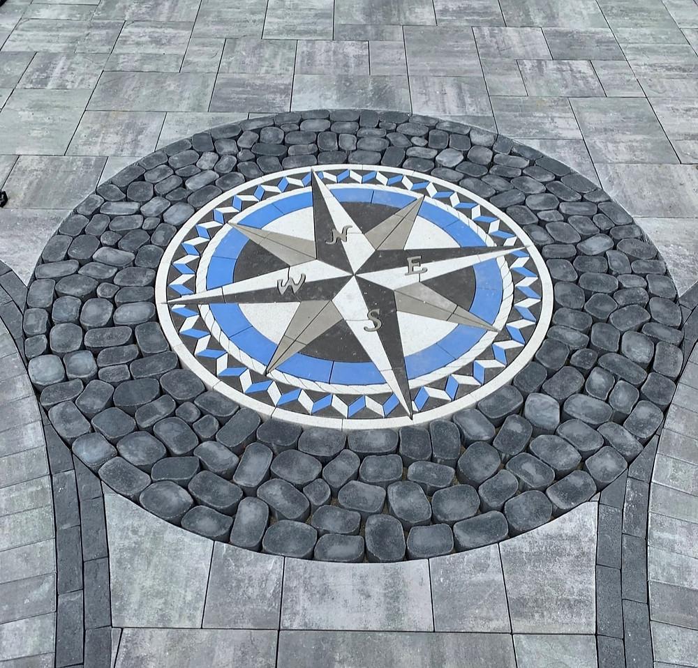 compass rose, compass pavers, stone compass, paver design, patio design ideas