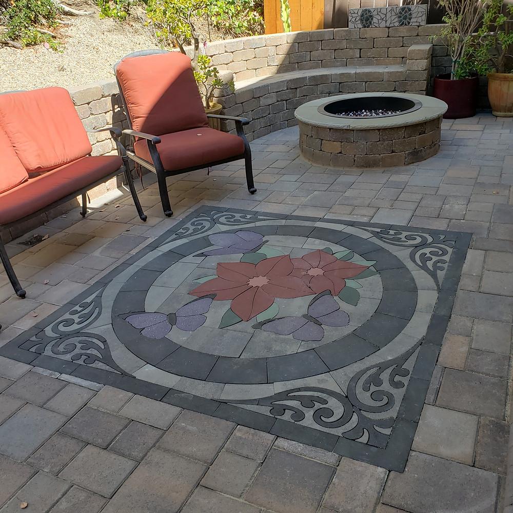 patio design, paver kits, paver design, patio ideas, paver inlay, paverart, custom paver design, floral art, home improvement
