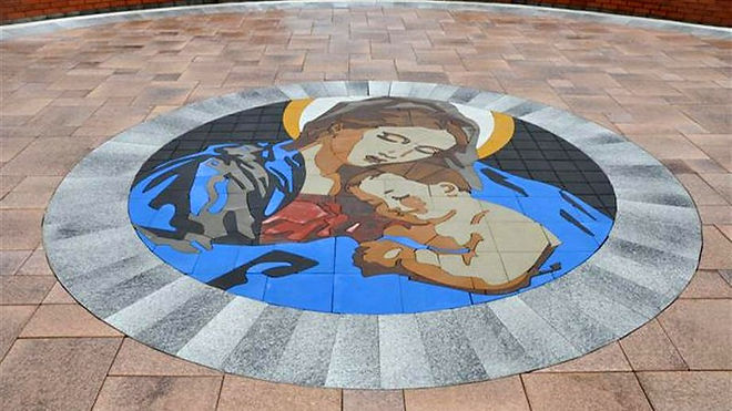 PAVERART Religious collection of custom inlays for outdoor living areas