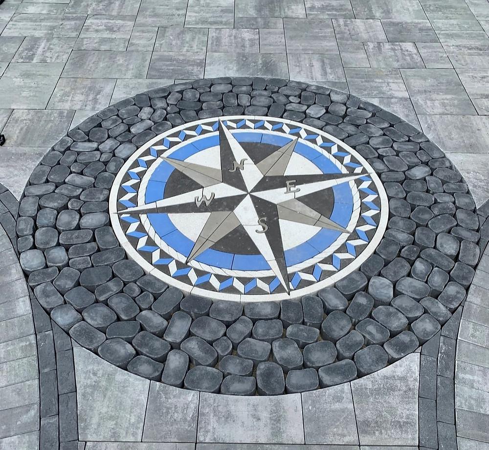 inlay, compass rose, patio paver kit, paver compass, patio ideas, patio design, landscape design