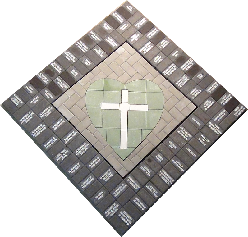 PAVERART Cross with surrounded engraved pavers