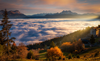Sunset and sea clouds, Leysin