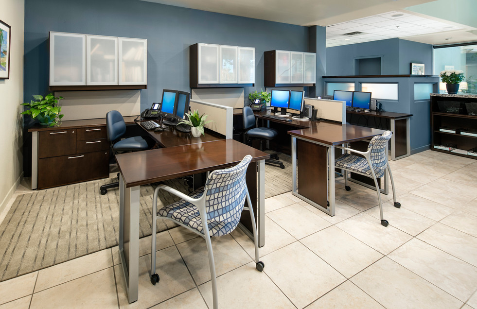 Contemporary Corporate office workstations with guest seating and blue walls
