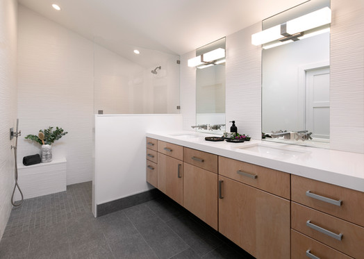 Master bathroom with large dual vanity and damless shower with built in bench
