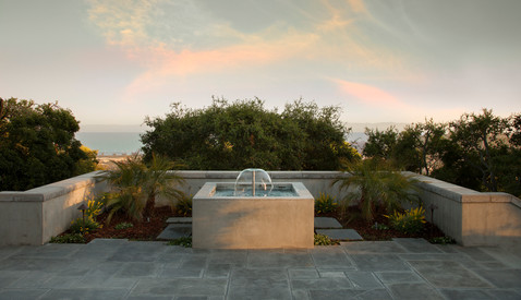 Modern water fountain and landscaping