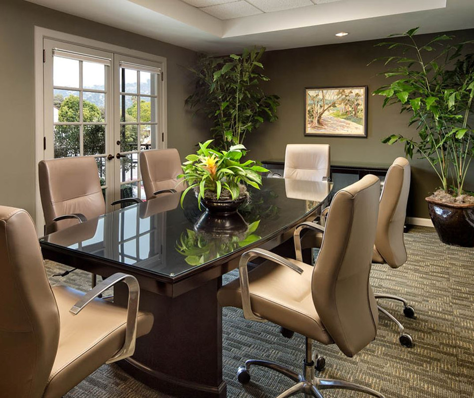 Warm Professional Office in Santa Barbara. Conference room with leather chairs, warm interior color palette and live plants. Interior Design by Keeping Interiors