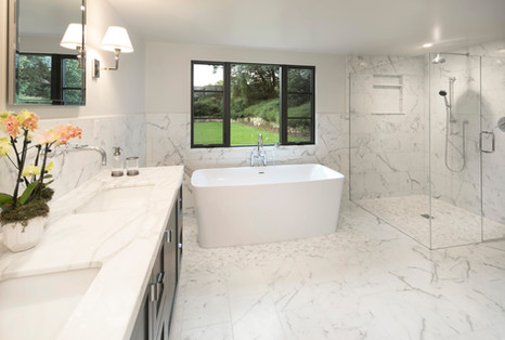 Elegant California Ranch Remodeled master bathroom with soaking tub and walk in shower