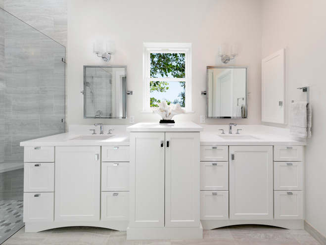 Master bathroom custom double vanity with center linen storage area, painted white