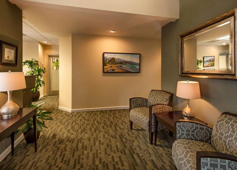 Warm Professional Office in Santa Barbara. Lobby with warm organic interior colors