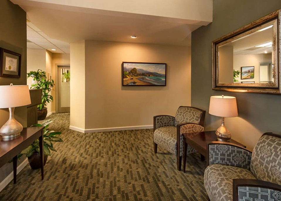 Warm Professional Office lobby commercial interior design in Santa Barbara