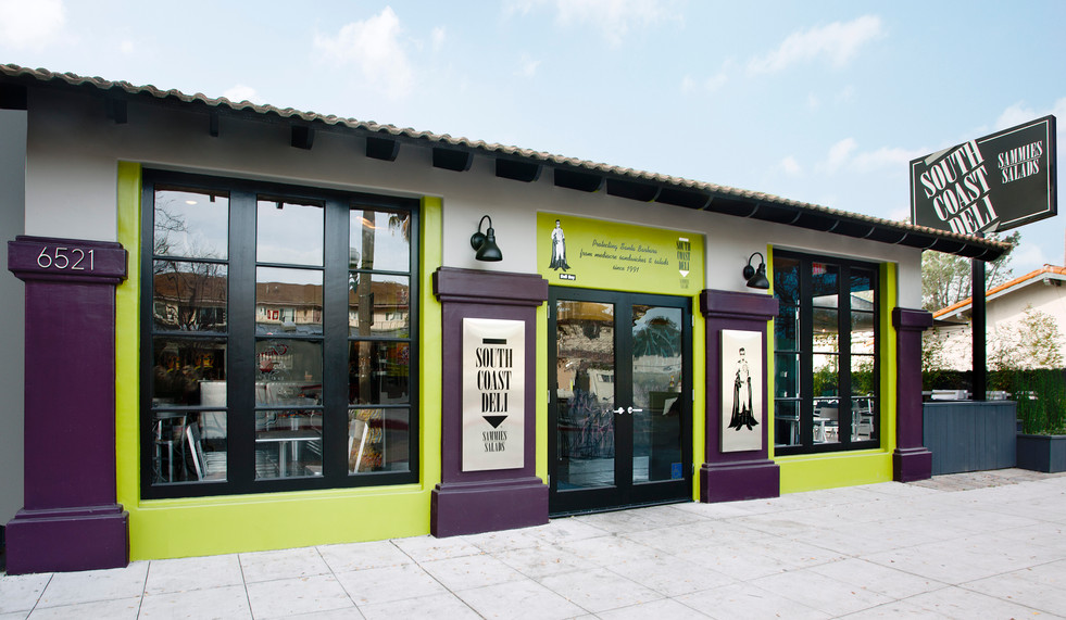 Colorful Deli with grey, green and purple exterior