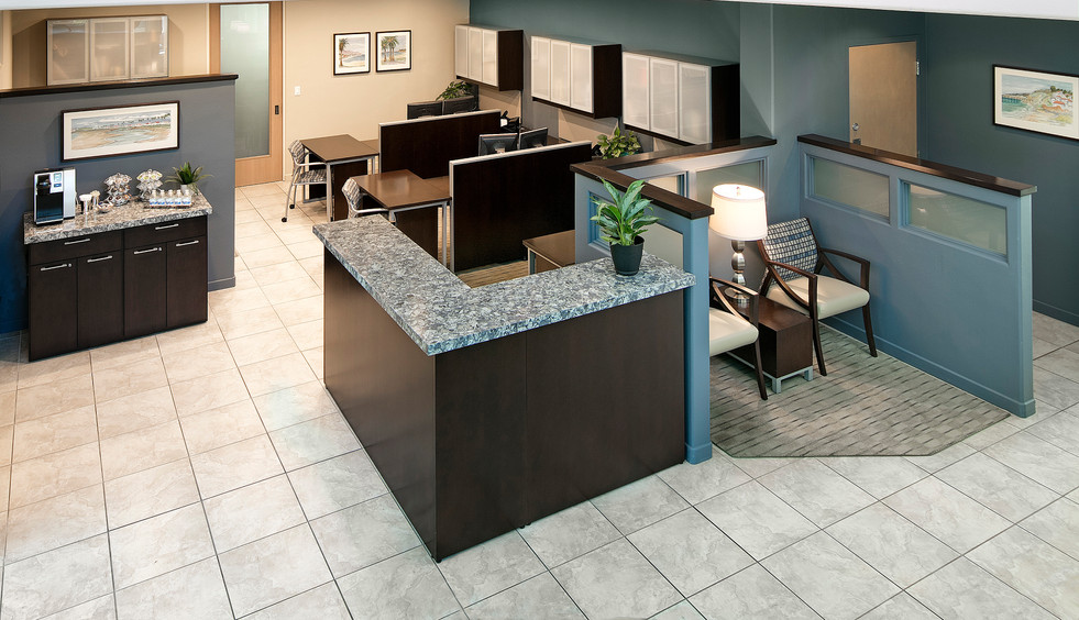 Contemporary Corporate interior design reception desk, lobby and workstations