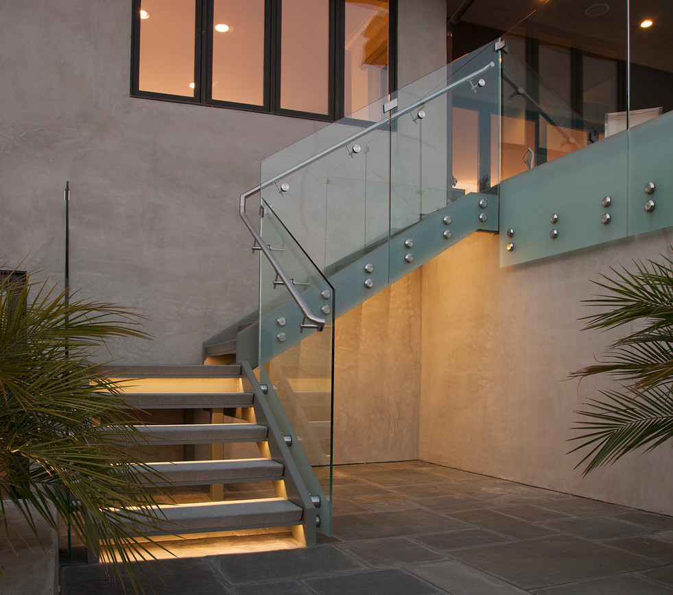 modern glass and steel exterior staircase