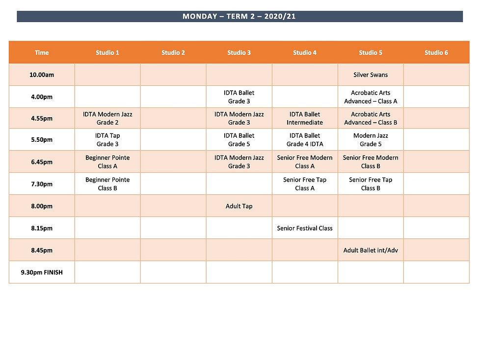website Timetable - Monday Term 2 2020:2