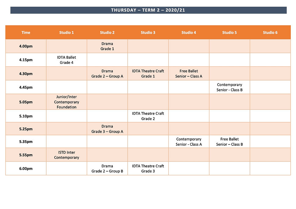 website Timetable - Thursday Term 2 2020