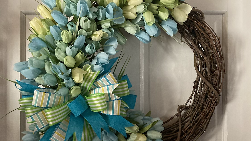Teal and light green Tulips Wreath