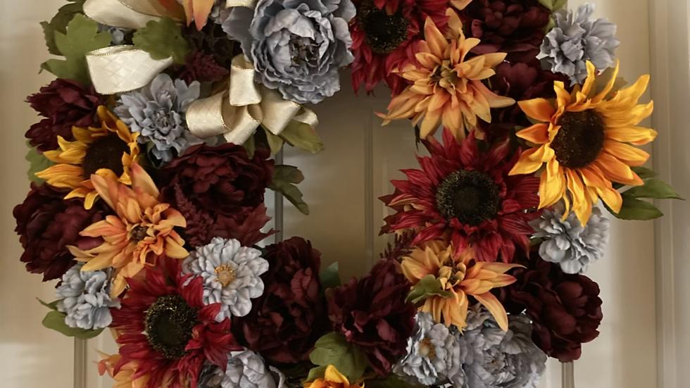 "Fall Floral Wreath 25""x 25"""