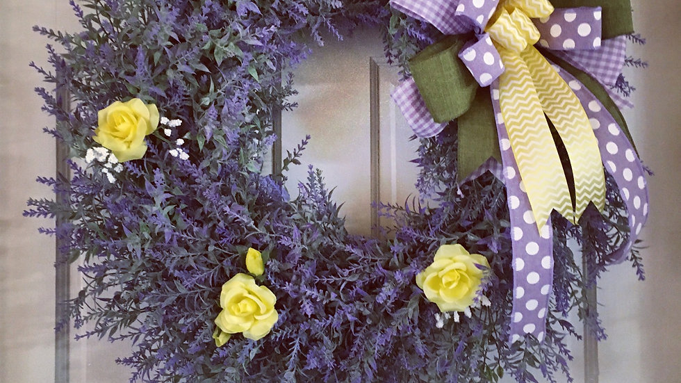 Lavender with Yellow Roses Wreath
