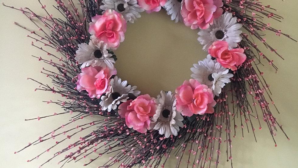 Flower Wreath, Door Hanger, Front Door Decor