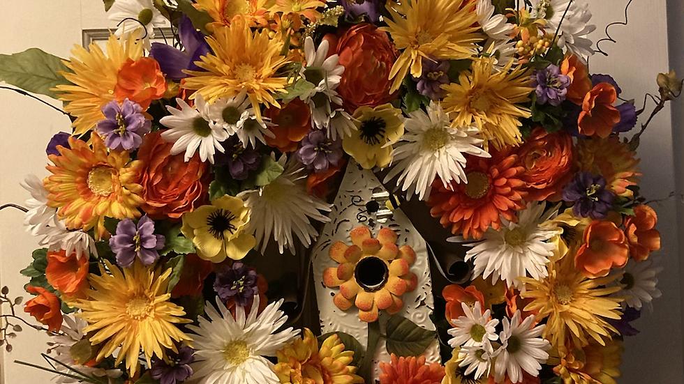 Floral Birdhoouse Wreath