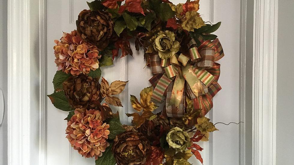 Hydrangea and Peony Fall Wreath
