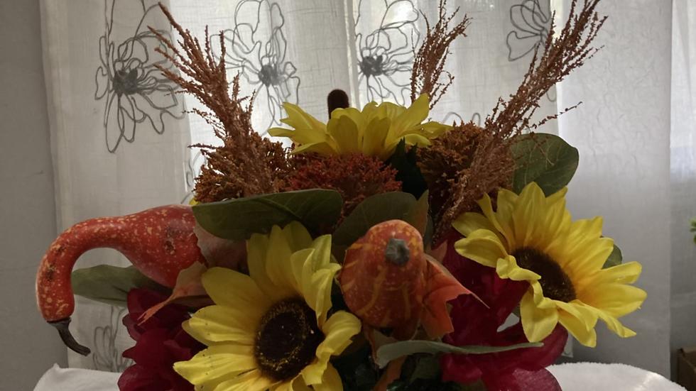 Sunflowers &Pumpkins Centerpiece