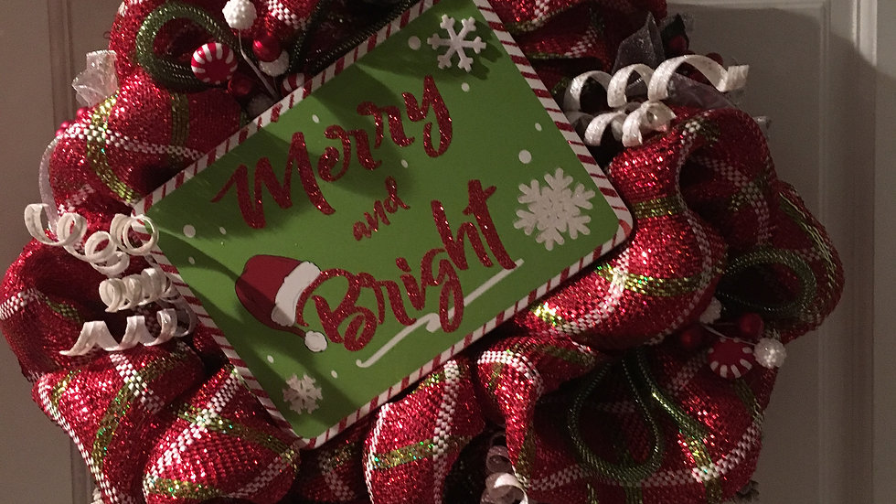 Merry and Bright Christmas Wreath