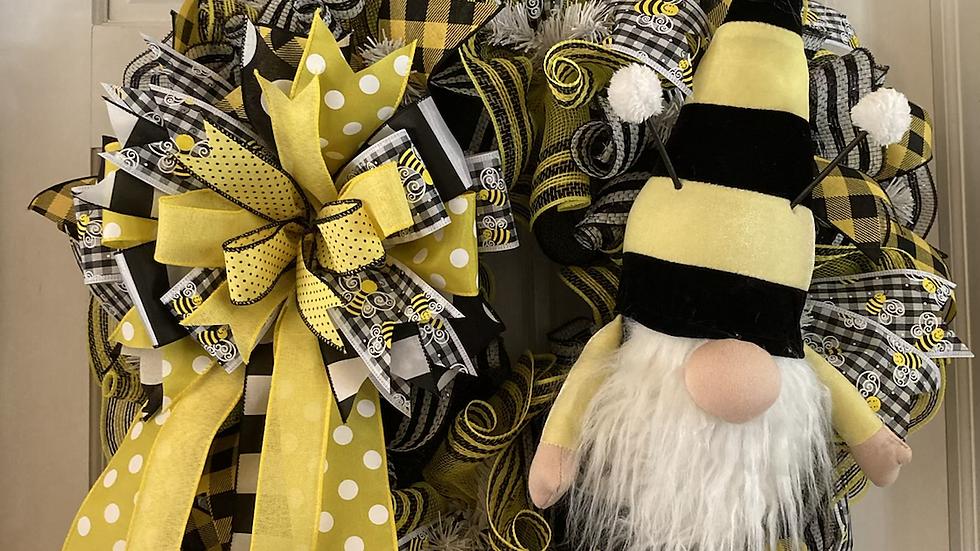 Bumblebee Gnome Wreath