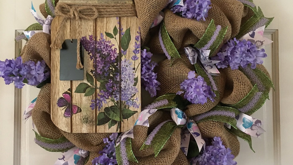 Burlap with Lilac Wreath