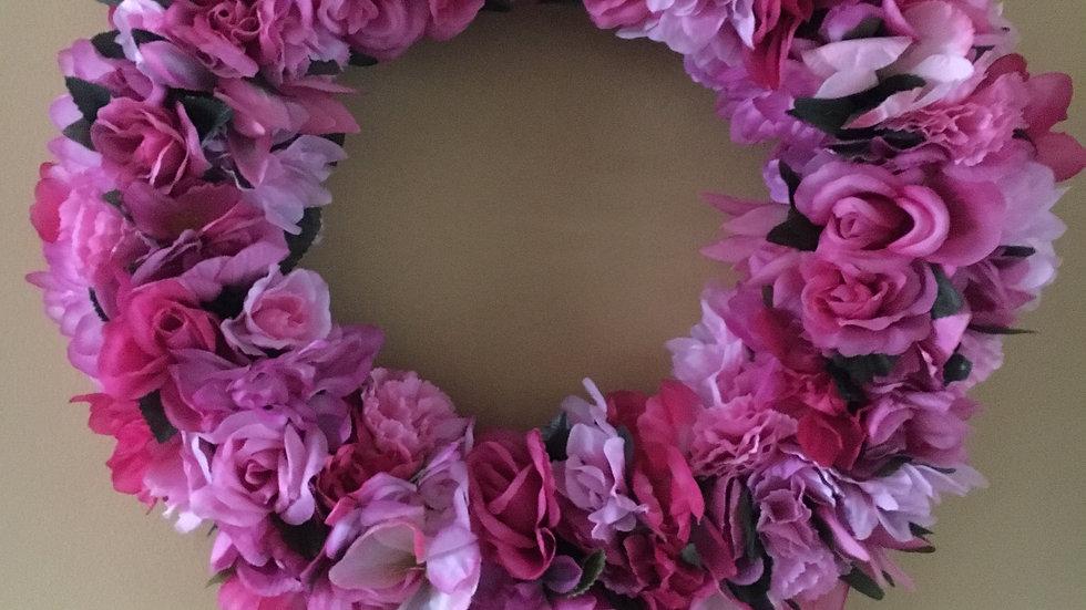 Pink Flowers Grape Vine Wreath, Front Door Hanger, Front Door Decor