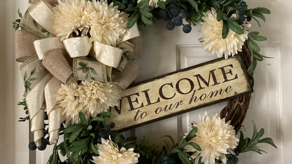 Welcome to our home olive wreath