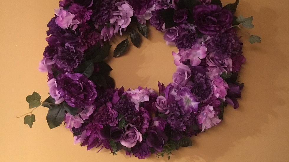 Grape Vine Wreath/ Purple Flowers/ Front Door Hanger