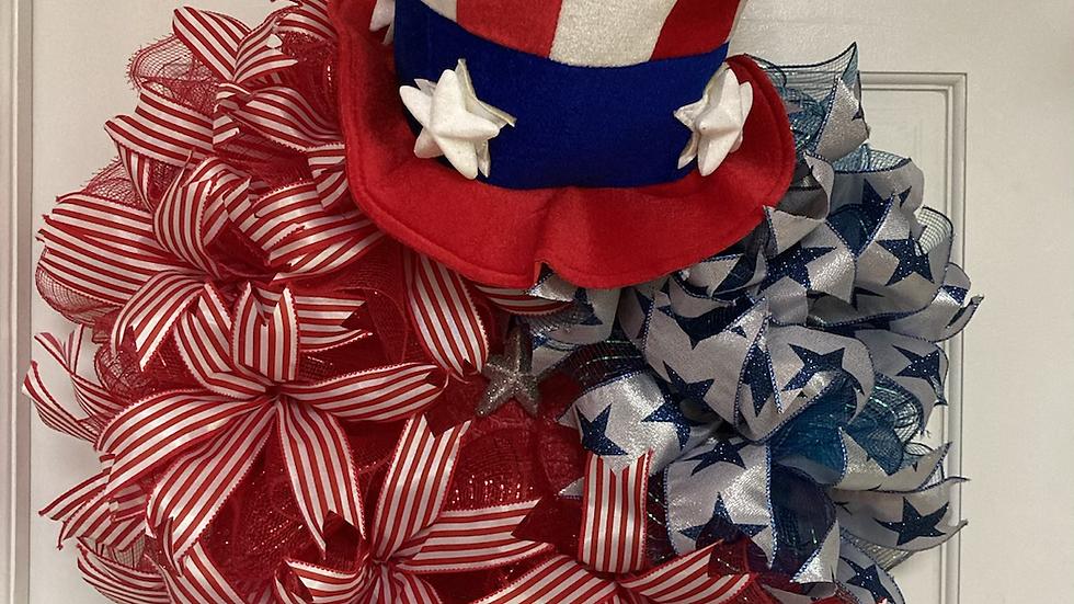 Patriotic Wreath with Hat