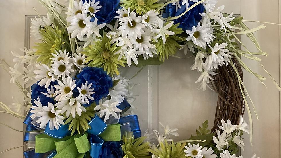 Blue /green daisies wreath