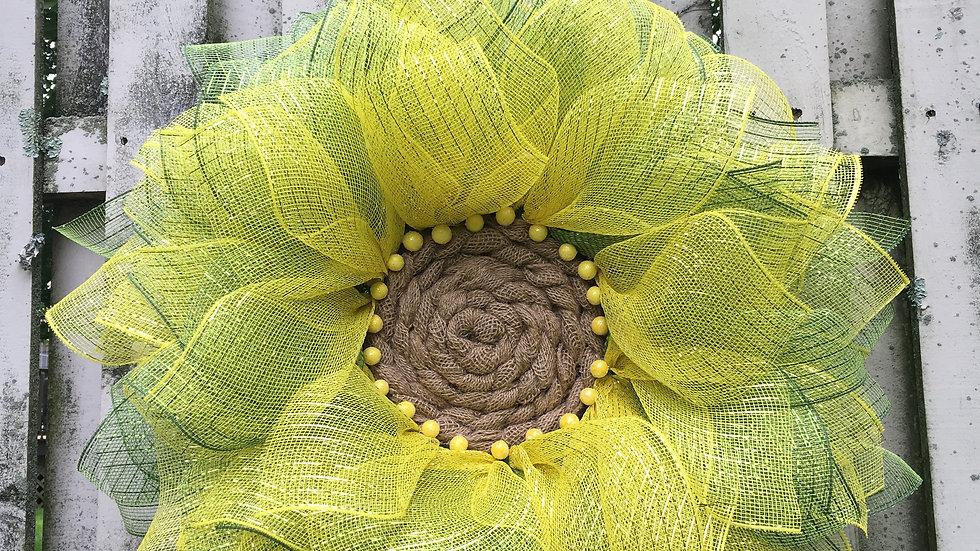 Sunflower Wreath/ Deco Mesh Wreath/ Door Hanger