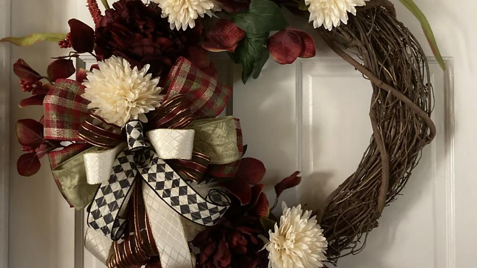 Chrysanthemum &Camellia wreath