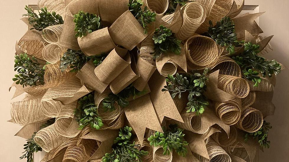 Burlap & Boxwood Wreath