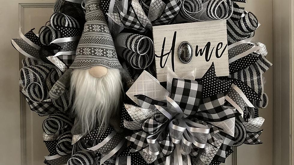 Home Gnome Black & White Wreath