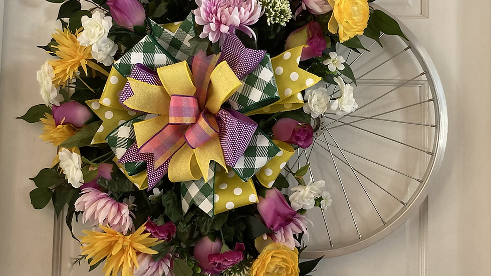 Floral Bicycle Wreath