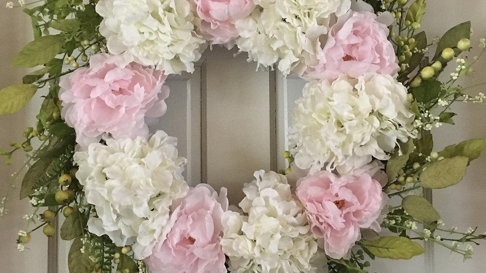 White hydrangea and peony Wreath