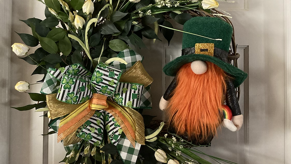 St. Patrick's Floral Gnome Wreath