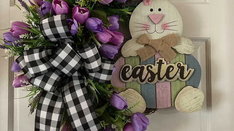 Pink a d Purple Easter Bunny Wreath
