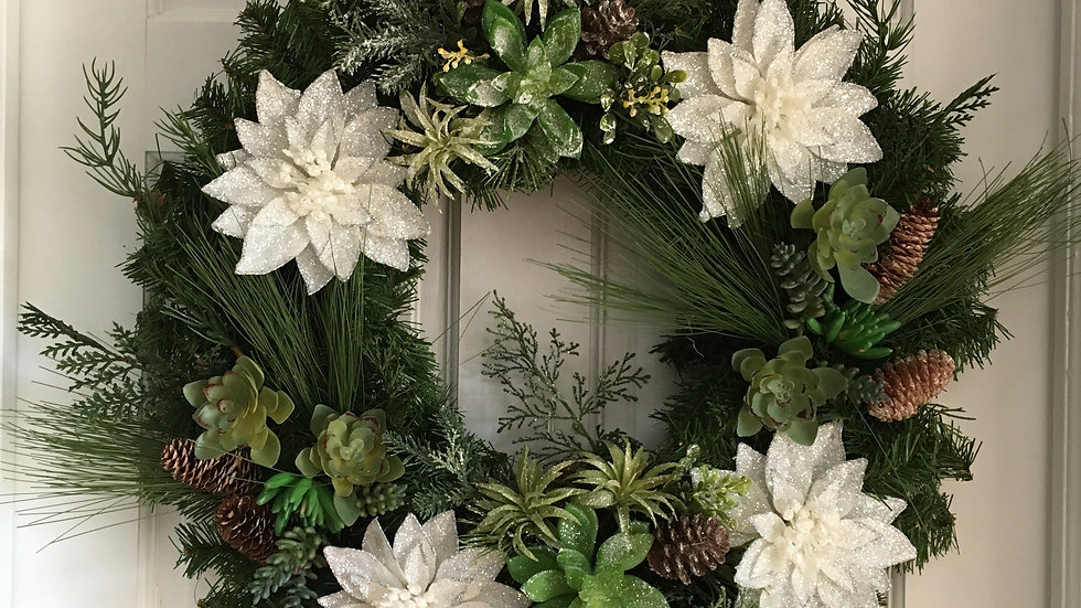 Winter Succulents and poinsettias pine wreath