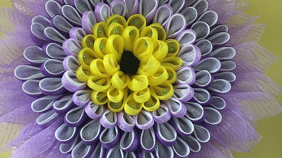Purple Daisy Wreath/Door Hanger, Front Door Wreath