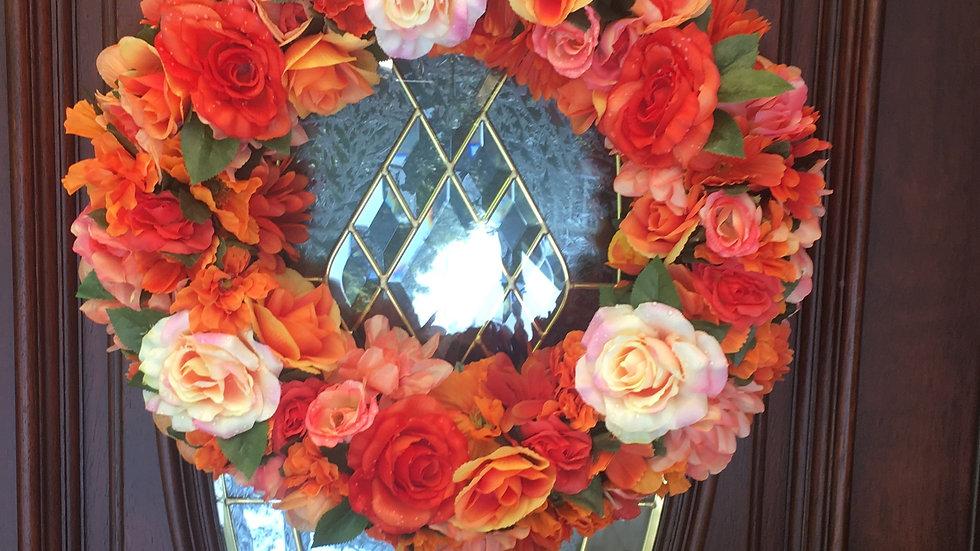 Orange Flowers Grape Vine Wreath/ Door Hanger/ Front Door Decor