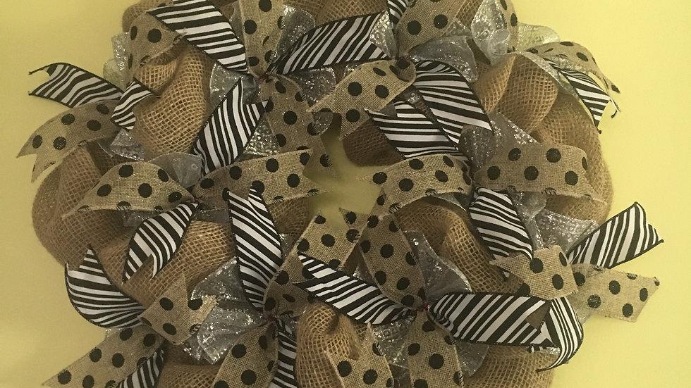 Universal Burlap wreath, polka dot/zebra print