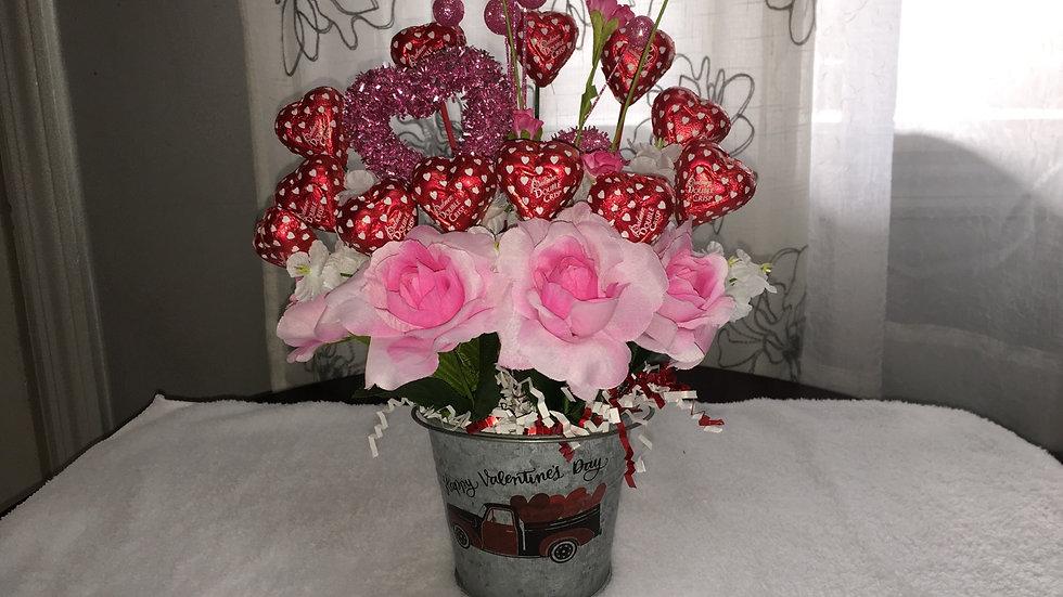 Valentine's Day candy centerpiece