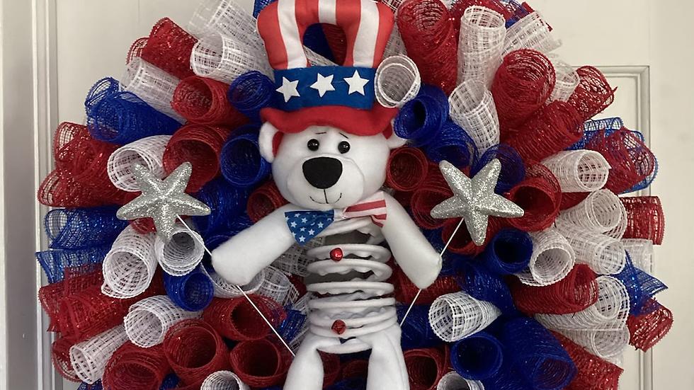 Patriotic Wreath with Dangling Bear