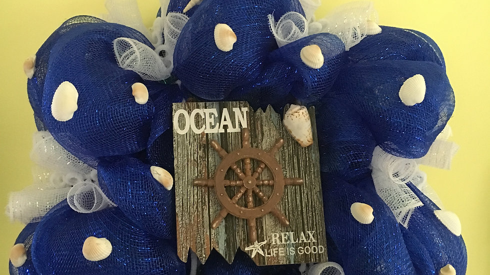 Nautical Wreath/ Blue & White Deco Mesh with Shells