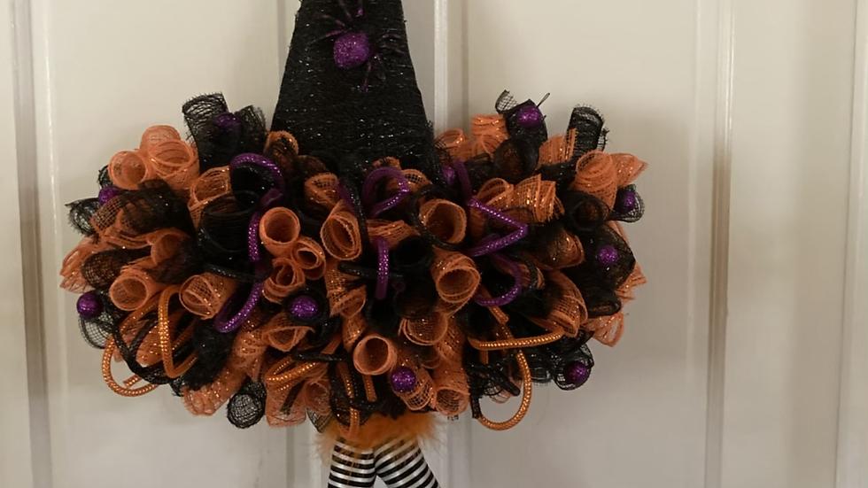 """Orange & Purple Witch Hat Wreath33""""x19"""""""